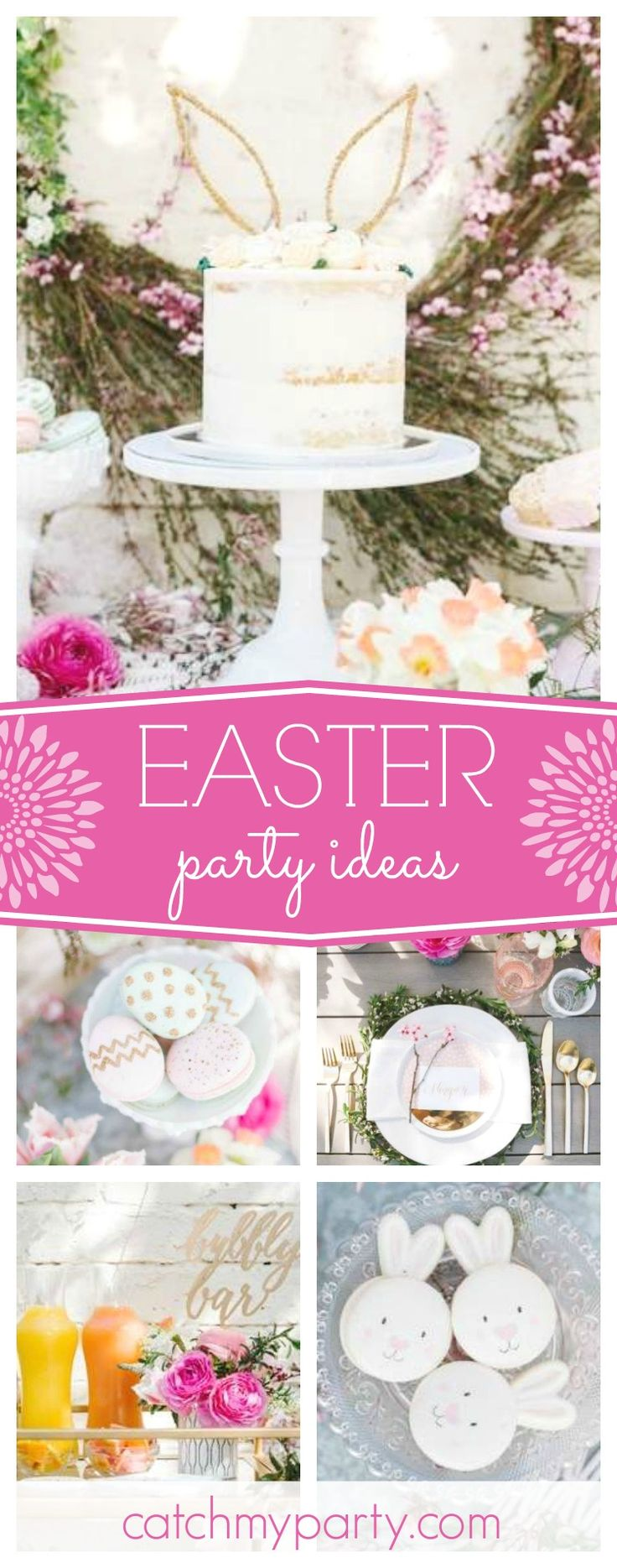 Don't miss this incredible Backyard Easter Brunch! The bunny macaroons are adorable!! See more party ideas and share yours at CatchMyParty.com