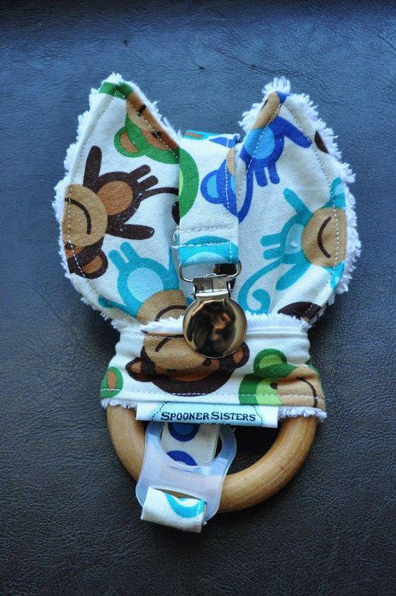 Monkeys Wooden Organic Teething Ring/Toy by SpoonerSistersDesign, $30.00