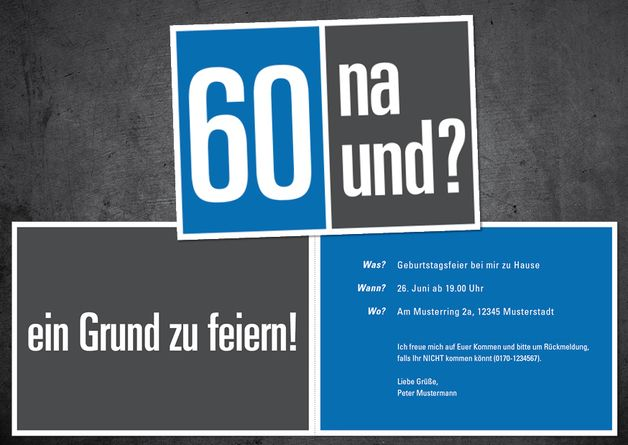 Einladungen - Einladung zum 60. Geburtstag: 60 na und? - ein Designerstück von individuelle-einladung bei DaWanda