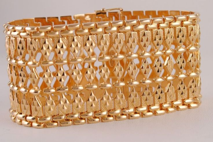 18K Solid Yellow Gold, Large Wide Bracelet