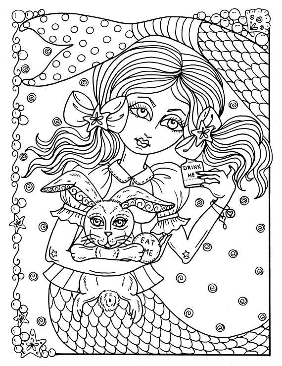 5 Pages Instant Download Alice In Waterland Coloring Pack Be Etsy Mermaid Coloring Pages Coloring Books Printable Christmas Coloring Pages