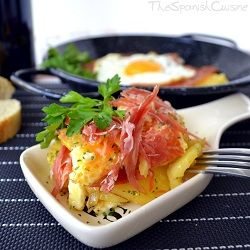Scrambled eggs with Serrano ham recipe! A famous and easy Spanish Tapas Recipe! - Spanish Food Recipes