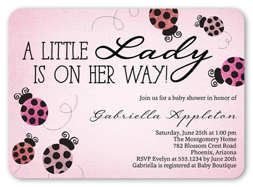 Baby Shower Invitation: Ladybug Sparkle, Rounded Corners, Pink