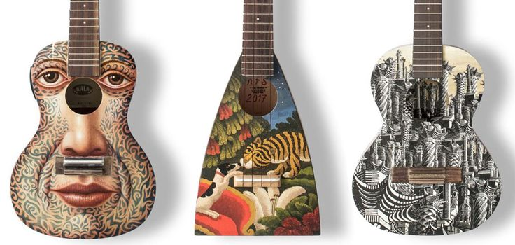 mick rooney introduces art on a ukelele for the hepatitis C trust auction