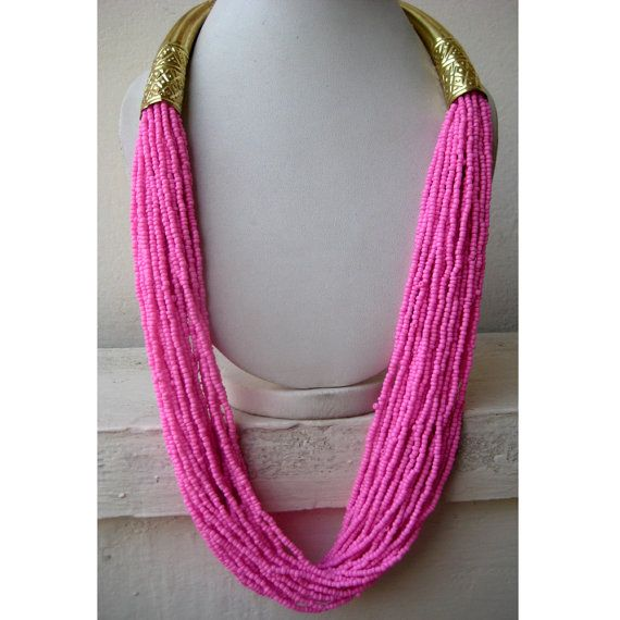 Statement Necklace/Long Necklace/Neon Pink Necklace/Chunky Necklace/Bib Necklace/Beaded Necklace/Neon Necklace/Beaded Jewelry on Etsy, $31.33 CAD