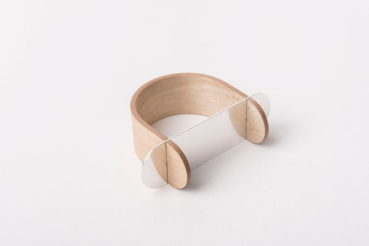 Sara Malm. Bracelet: Untitled, 2016. Plywood, silver.. 7 x 8 x 3 cm. Photo by: Emanuel Cederqvist. From series: In Line With.