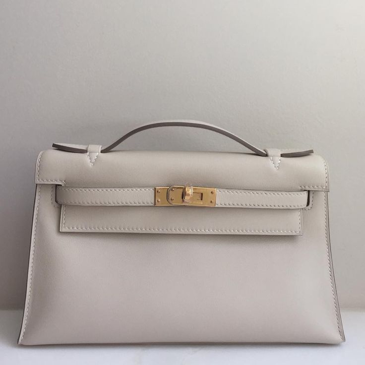 Hermes Capucine Swift Leather Kelly Cut Palladium Hardware