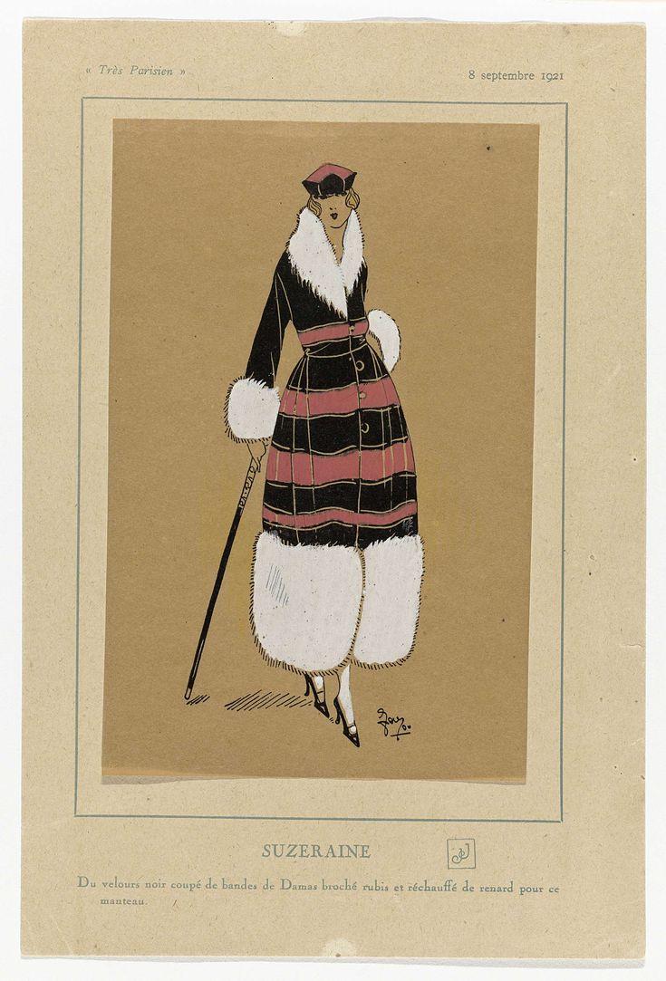 Anonymous | Très Parisien, 8 septembre 1921 : SUZERAINE / Du velours noir coupé..., Anonymous, G-P. Joumard, 1921 | Mantel van zwart fluweel met banden van robijnrode gebrocheerde damast en gegarneerd met vossenbont. Accessories; hoed, wandelstok, pumps.Prent uit het modetijdschrift Très Parisien (1920-1936).