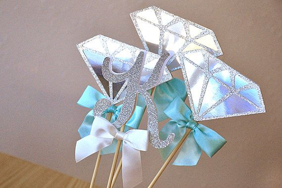 So fun! These Diamond & Initial Wands are perfect for a personalized and unique centerpiece for your Breakfast at Tiffany's inspired party, engagement party, bridal shower, or birthday party!