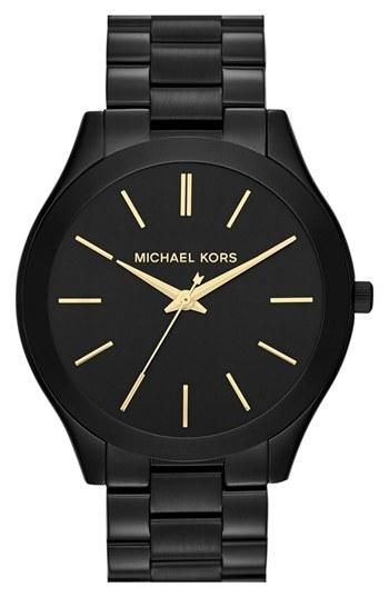 "Simple. Slim. Sleek. Michael Kors ""runway"" watch...I'm not a watch person, but I'm really liking the black ones!"