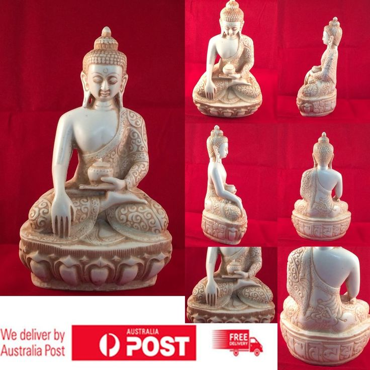 Home Decor Ceramics Resin Earth-Touching Style Buddha Statue Dragon Robe - White