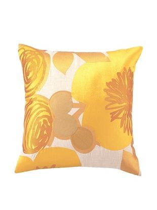 Trina Turk Multi Floral Embroidered Pillow (Yellow)