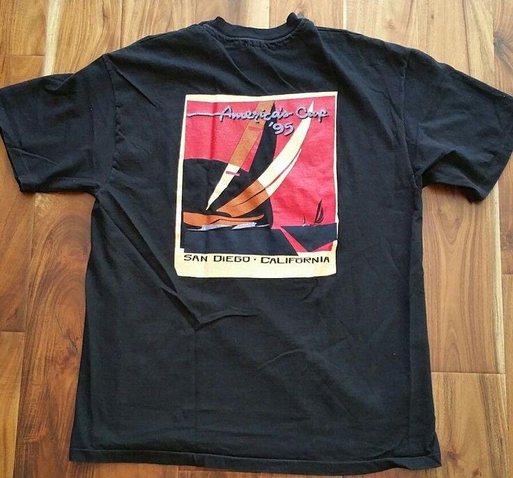 America's Cup 1995 Sailing Sailboat Racing San Diego, CA T-Shirt tee Men's Large #Hanes #GraphicTee