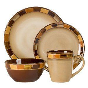 Discount Stoneware Dinnerware | Gibson Casa Estebana 16-piece Dinnerware Set Service for 4, Beige and ...