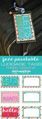 Free Printable Front & Back Luggage Tags | Fun side and contact information side | Three Designs | Instant Downloads