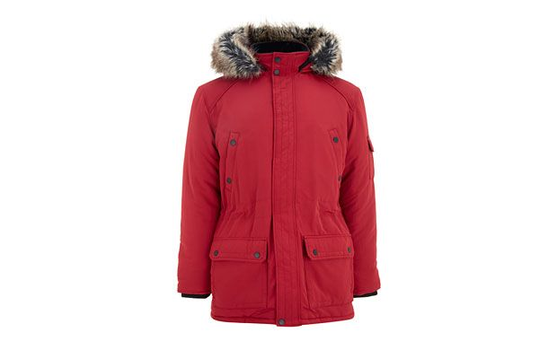 """Red Parka Coat. """"Add a pop of colour to your outerwear in this vibrant parka coat with faux-fur trimmed hood."""""""