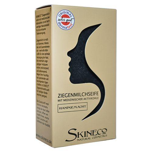 Ziegenmilchseife mit medizinischer Aktivkohle von SKINECO ✿ Wirksame Tiefenreinigung & Hautpflege ✿ Hier shoppen Sie unsere schwarze Seife!