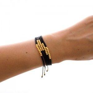 Pulsera Chaquiras Negras con Balines Goldfilled | Tienda online de accesorios www.dulceencanto.com #pulseras #accesorios #colombia