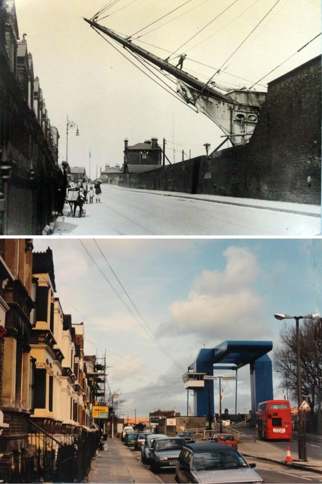"""Glen Terrace in 1925 and more recently. The old photo shows how Manchester Rd formerly followed the line of the terrace, crossing the swingbridge in a straight line. Not many years later a new bridge was built to replace the swingbridge, but further to the right (so that it was outside of the dock locks), causing the familiar kink in Manchester Rd."" (via Mick Lemmerman)"