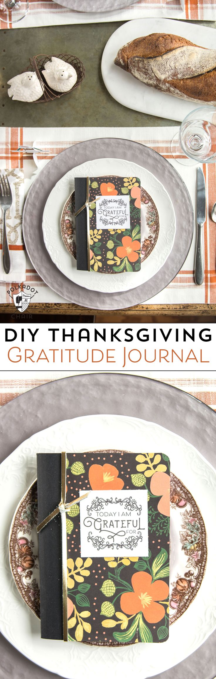DIY Thanksgiving Gratitude Journal, love the idea of setting them out on the Thanksgiving dinner table (would also be great to use all year long) [ad]