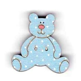 Botón decorativo de madera con forma de osito en azul.  Medida: 2.5 x 2.5 cm.