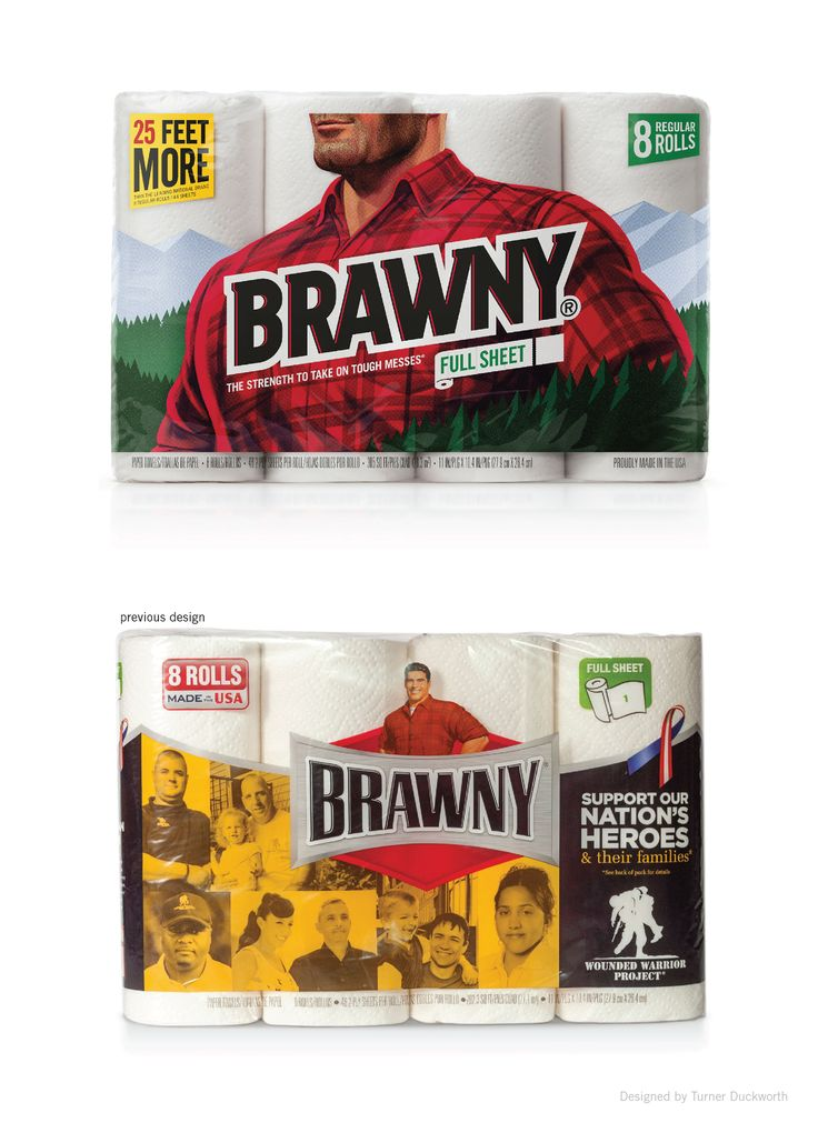 Brawny packaging, before and after. Designed by Turner Duckworth.