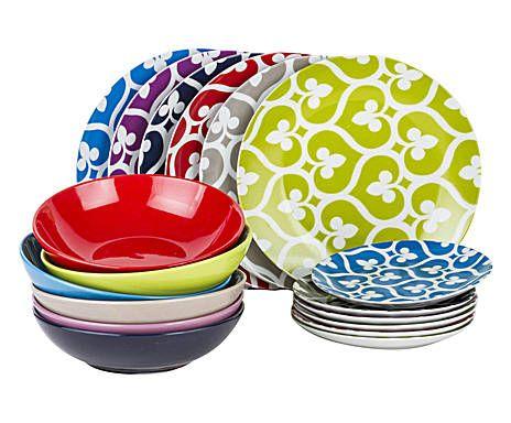 Servizio di piatti in porcellana e gres mandala bay - 18 pezzi