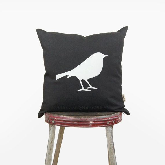 16x16 bird pillow cover  White and gray bird by ClassicByNature