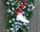 Christmas Wreath, Christmas Swag, Front Door Swag Wreath, Winter Wonderland Wreath, Ice Skating Winter Swag, WInter Wreath, Holiday Wreath