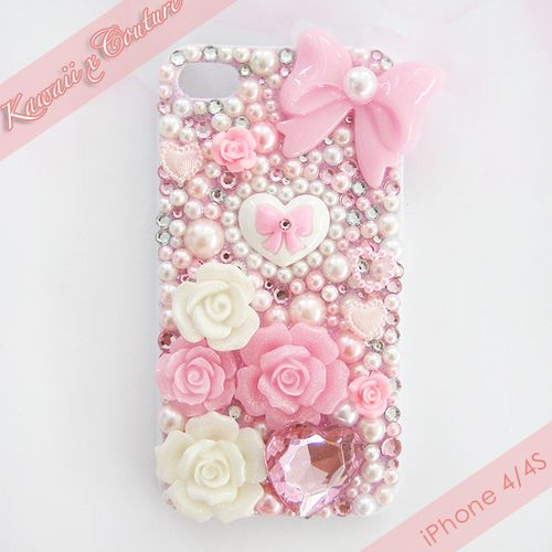 Pearly Pink & White iPhone 4/4S Case | $45.00    SHOP: www.etsy.com/shop/kawaiixcoutureHandmade decoden phone cases, jewelry, & accessories ♡