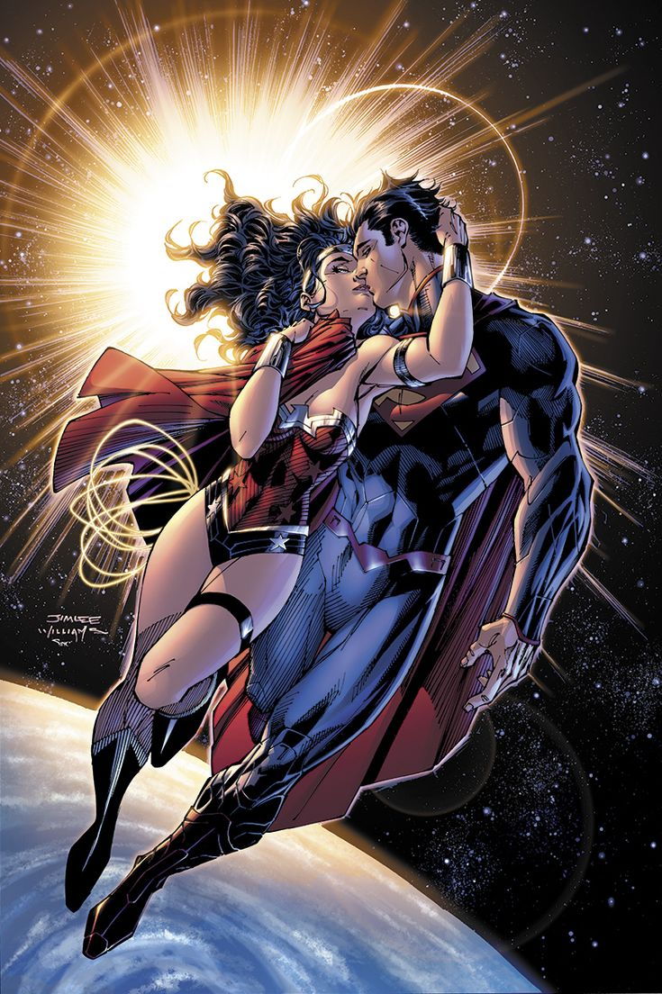 """""""Justice League #12"""" 2nd Reprint Cover-Superman & Wonder Woman, the kiss"""