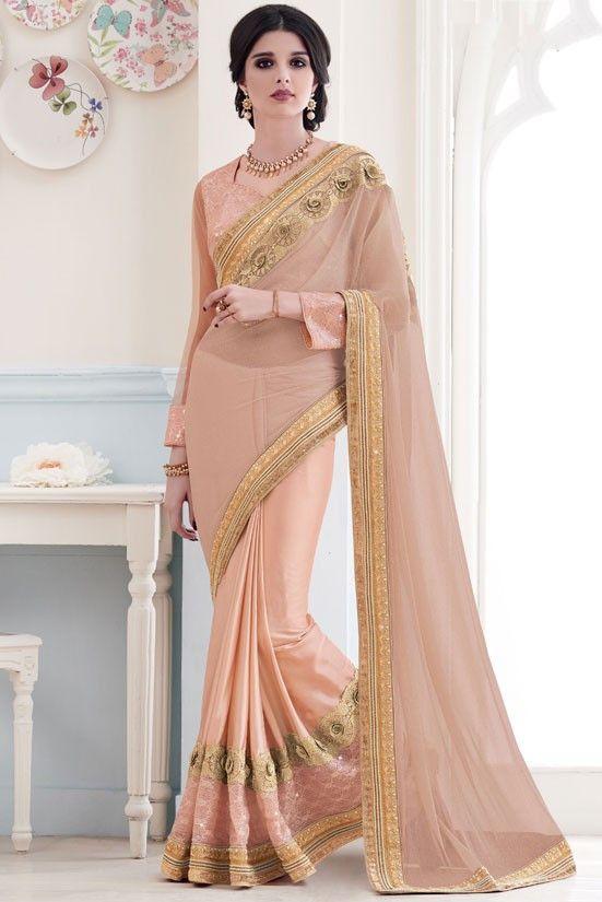 Amazing Peach Saree http://ethanica.myshopify.com/products/amazing-peach-saree-1 #sarees #partywearsarees