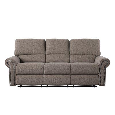 Wayfair Custom Upholstery™ Cory Reclining Sofa Body Fabric: Marvel Stone, Nailhead Finish: Old Gold