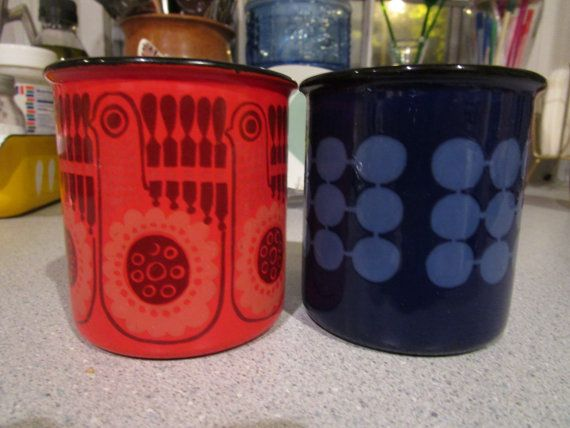 Arabia Finland Finel Enamelware Mugs Cups Red by flyingdustbunny