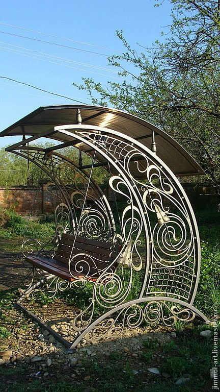 Купить Кованые скамьи с навесом - кованая скамейка, Ковка, художественная ковка, для дачи, кованые изделия