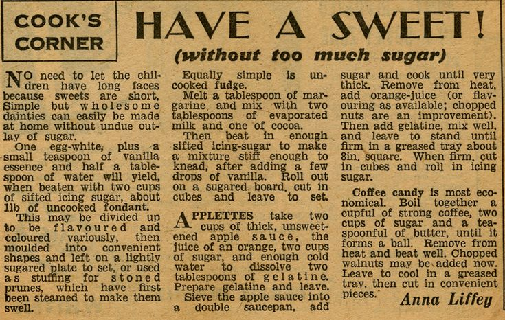 WW2 Recipes for Sweets