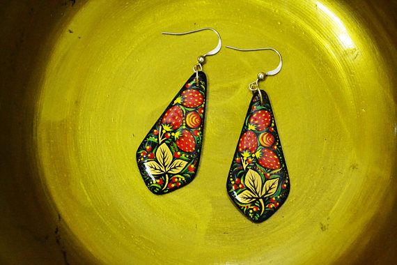 Hand painted Wooden Earrings Russian folk style Painted Wooden
