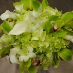 Green & white calla lily and orchid bouquet
