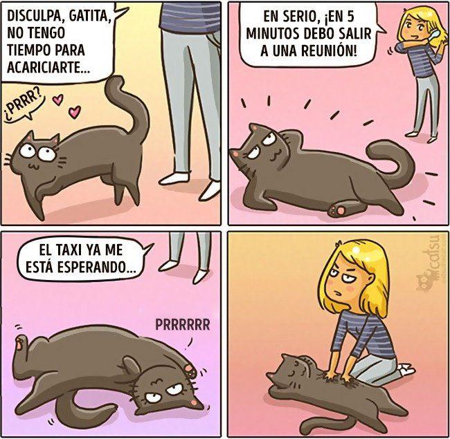 Cómic gato en casa razón de tu impuntualidad