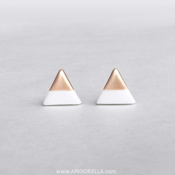 White Rose Gold Triangle Dipped Studs via Amoorella. Click on the image to see more!