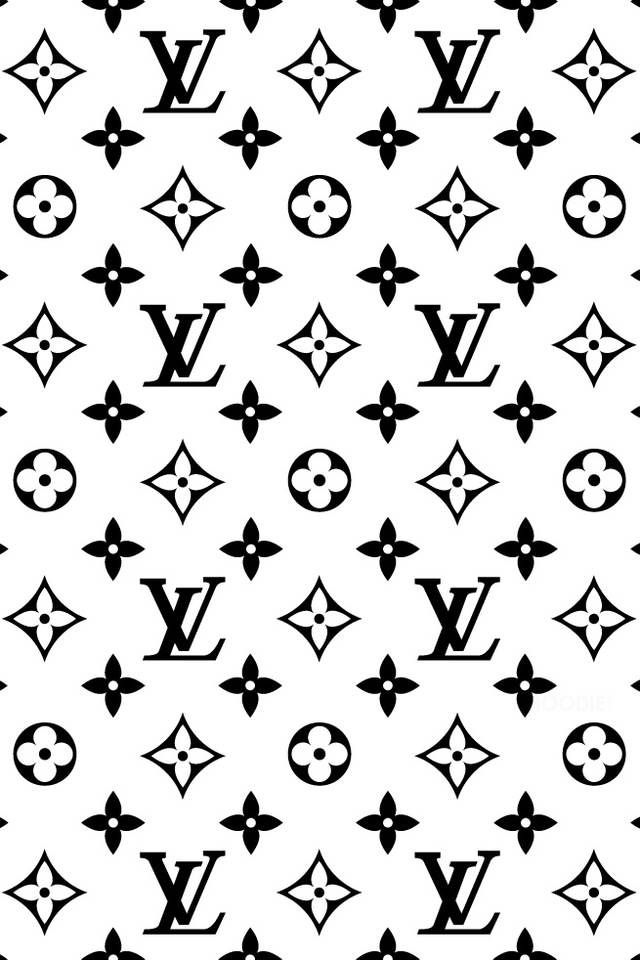 Black white louis vuitton iphone wallpaper fondos for Popular wallpaper patterns