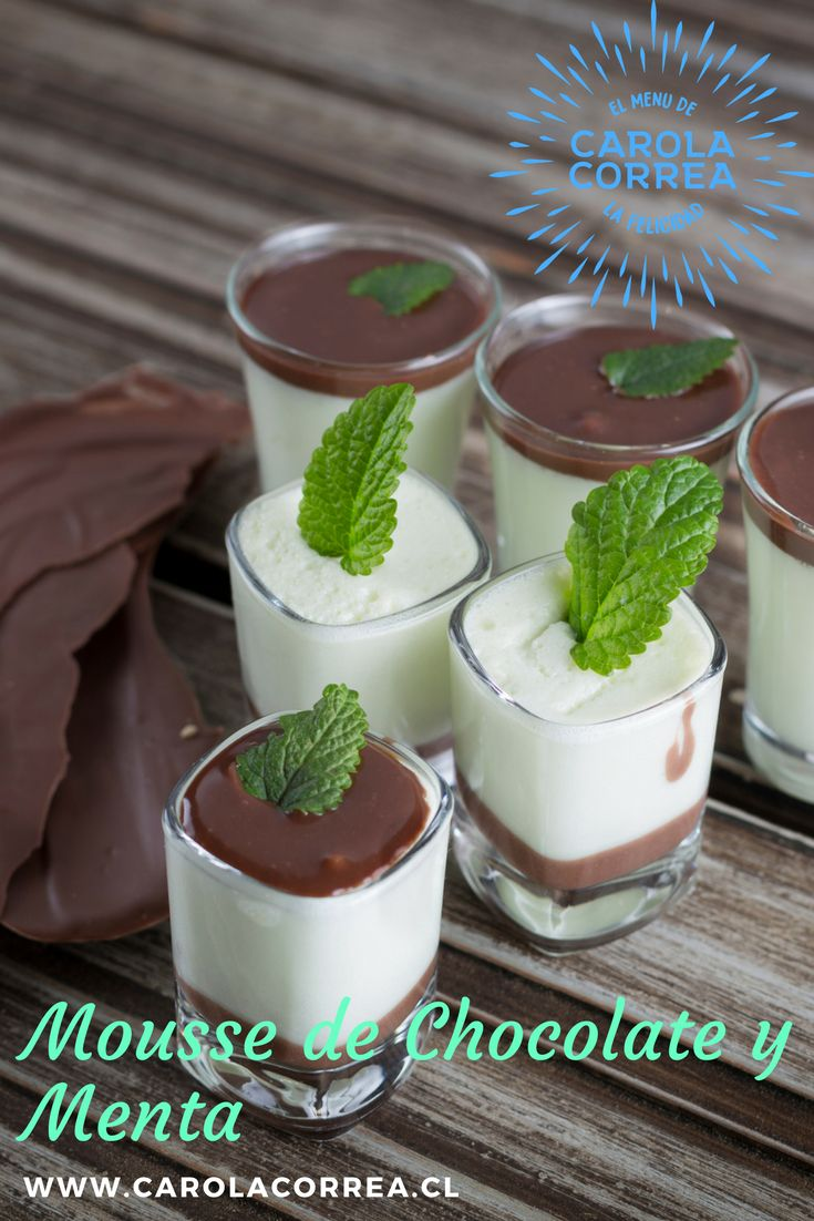 Mousse de chocolate y menta Ingredientes (8) 1 tarro leche evaporada frío 1 tarro leche condensada 5 láminas de colapés 1 tacita de licor de menta 1 taza de cobertura de chocolate ½ taza de crema