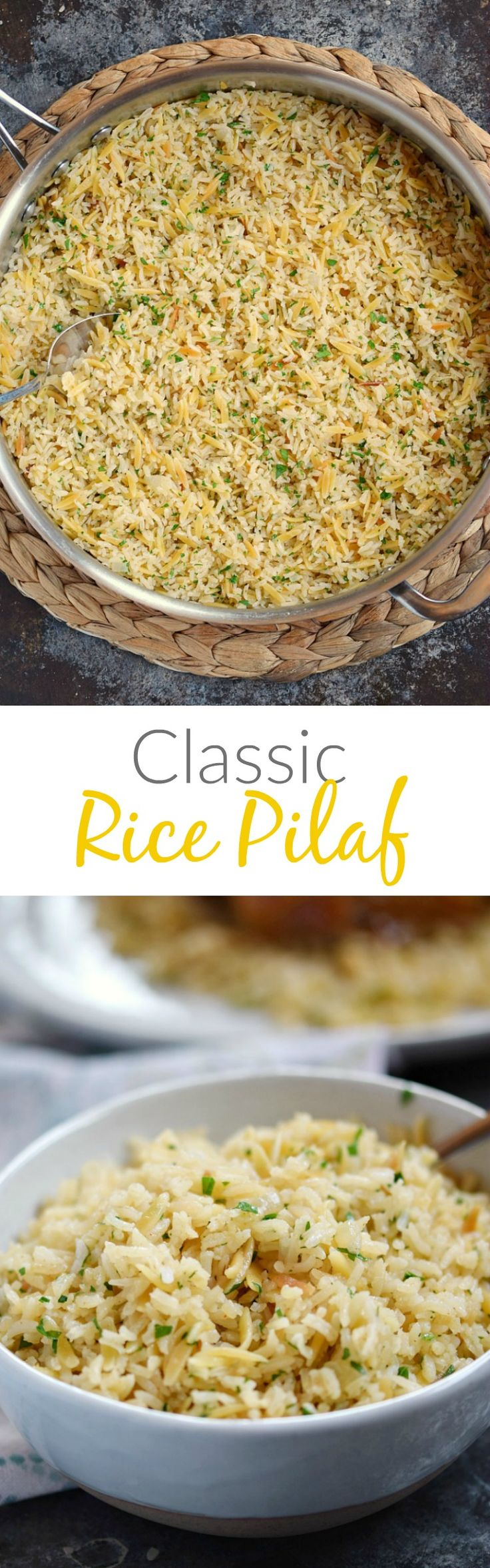 This Classic Rice Pilaf is loaded with flavor and pairs perfectly with your favorite main dish whether it is poultry, fish, pork, or beef! cookingwithcurls.com