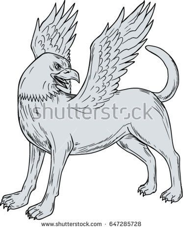 Drawing sketch style illustration of a Chamrosh, a Persian mythology creature with the body of a dog with the head and wings of a bird rather like the Greek Griffin side on isolated white background.   #chamrosh #drawing #illustration