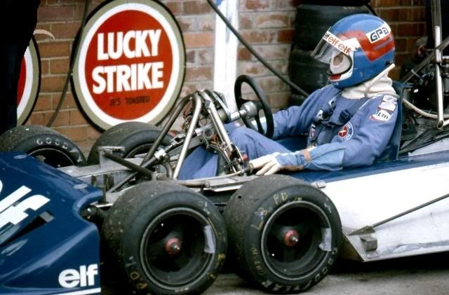 Patrick Depailler Squeezes into his #Tyrell P34
