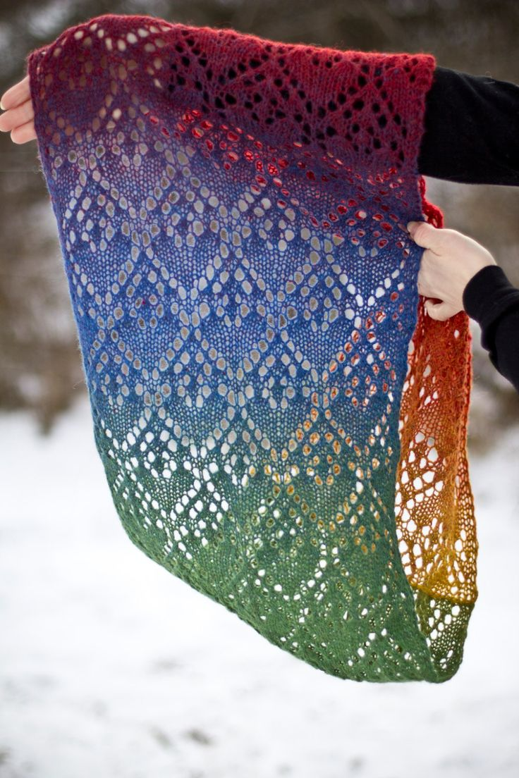 Knitting Pattern for Rainbow Heart Lace Shawl - Heartfelt is a rectangular lace shawl that ­can become an infinity shawl when the ends are sewn ­together. You could keep it open for a regular wrap. The pattern is easy to adapt and works well with any sport, dk or ­fingering weight yarn. Perfect for multi-colored yarn.