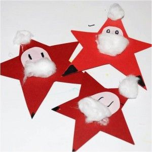 Super cute little Santa Stars. Perfect and fun #Christmas craft for young kids! via www.redtedart.com #kidscraft #preschool