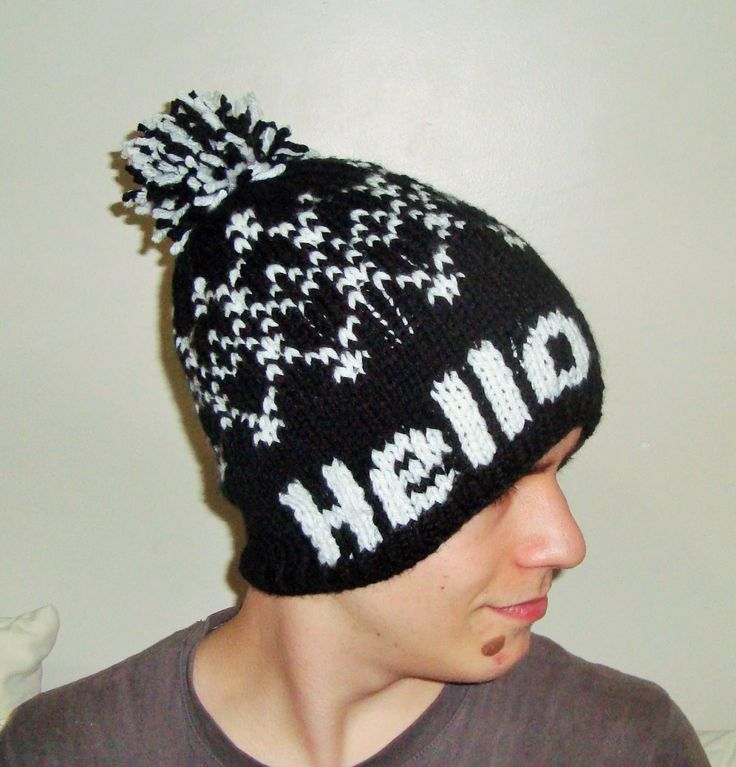 Personalized Teen Mens Womens Knit Beanie Hat Hello Vine Personalized Black and White Hat with Pom Boyfriend Gift by earflaphats on Etsy