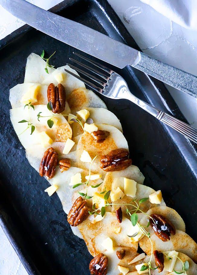 Pærecarppacio med pekannødder