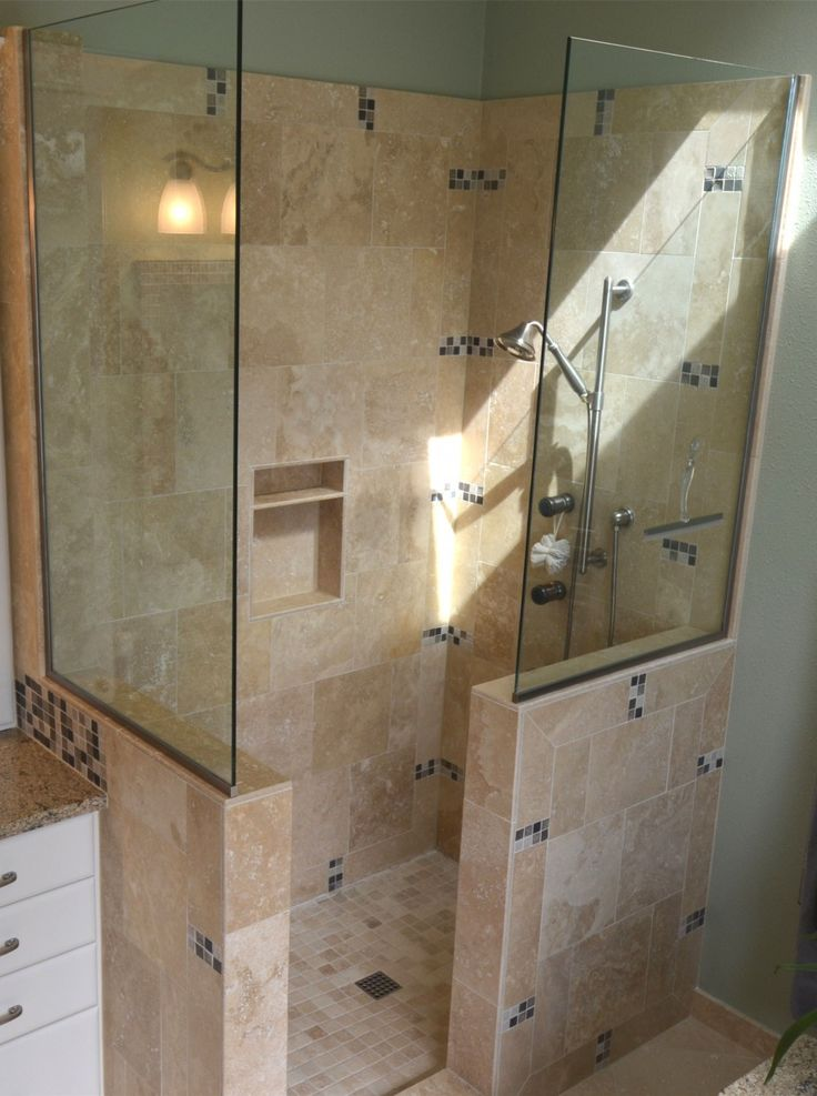Bathroom: Awesome Remodeling Custom Doorless Shower Designs With Glass  Cubicle Showers And Stainless Steel Free